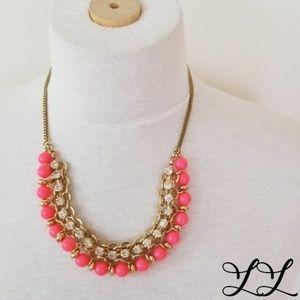 Vintage Necklace Gold Faux Diamonds Pink Beads